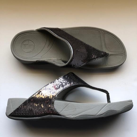 2406785f754d4 FitFlop Electra Silver Sequin Flip Flop Sandal 11